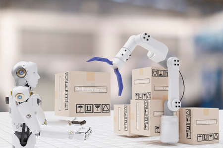 Robot cyber future futuristic humanoid hold box product technology engineering device check, for industry inspection inspector transport maintenance robot service technology
