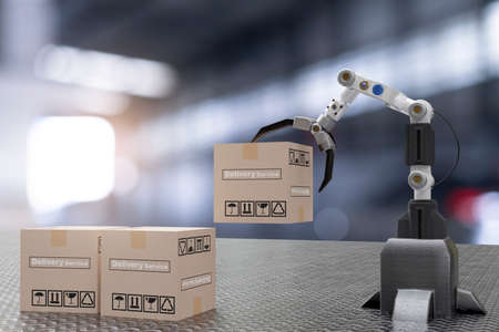hand Robot cyber future futuristic humanoid hold box product technology 3D rendering device check for industry inspection inspector transport maintenance robot service technology Hi tech industry Standard-Bild