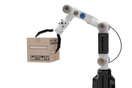 Robot cyber future futuristic humanoid hold box product technology engineering device check, for industry inspection inspector transport maintenance robot service technology 3D rendering Standard-Bild