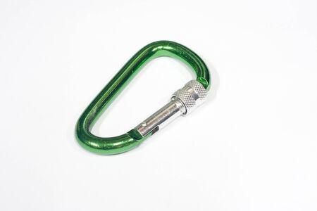 carabiner: Green carabiner Stock Photo