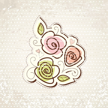 hand drawn rose: Hand-drawn floral background with roses  Vintage vector illustration