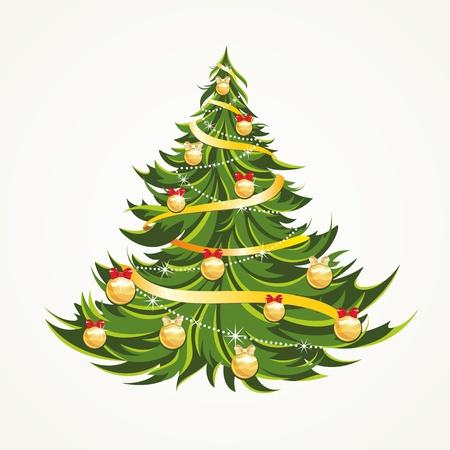 절연 된 아름다운 크리스마스 트리 일러스트