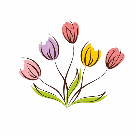 Floral background  Vector illustration with bouquet of spring tulips