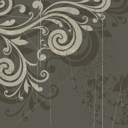 swirly design: Floral retro background
