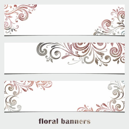 Grunge Floral banners  Watercolor vintage background