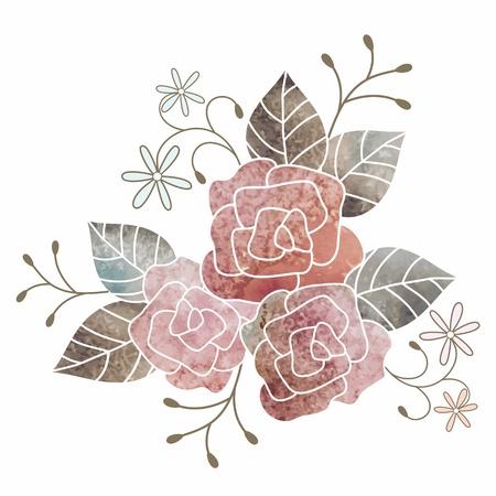 róża: Akwarela, kwiatowy bukiet. Kartka urodzinowa. Ilustracja