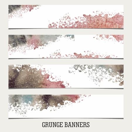 Grunge Banners. Watercolor vintage background. Illustration