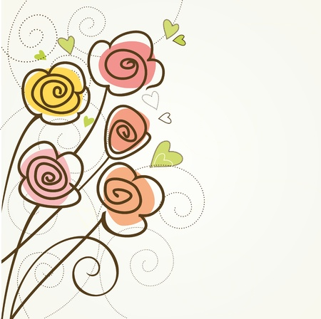 ornate heart: Floral background with roses  Vintage birthday card  Illustration