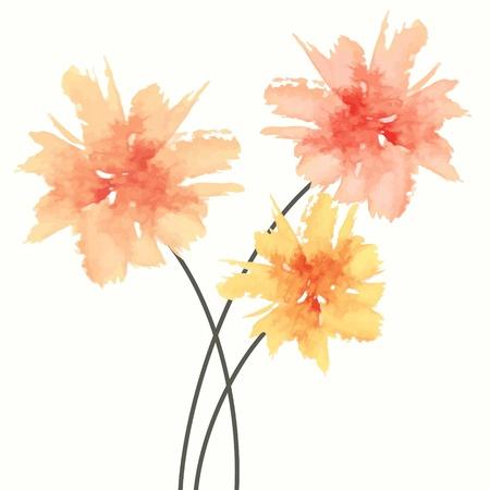 花の花束。水彩画の花。  イラスト・ベクター素材