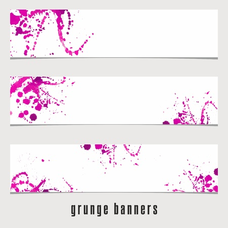 fuchsia: Grunge Banners. Watercolor vintage background. Watercolor spots.