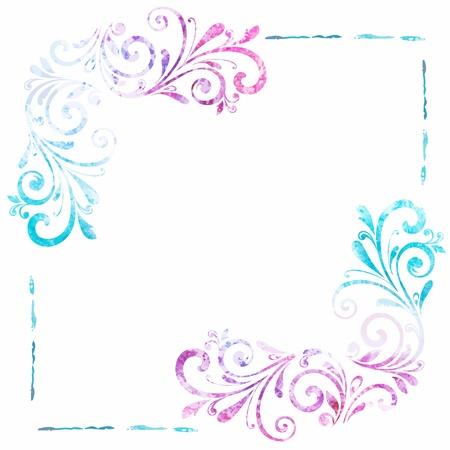 turquoise swirl: Grunge floral frame. Vector watercolor background.