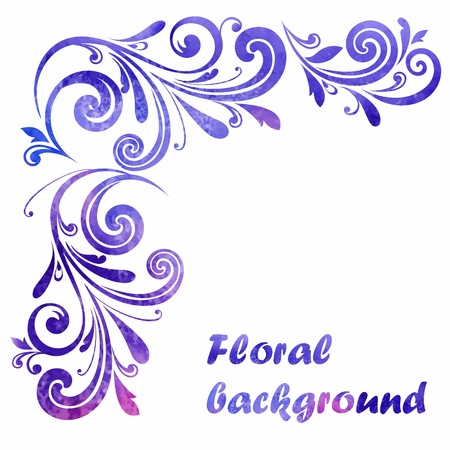 grunge border: Floral frame. Vector watercolor background. Illustration