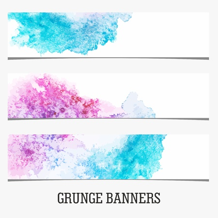 grungy header: Grunge Banners. Watercolor vintage background. Illustration