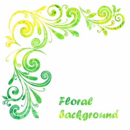grungy background: Floral frame  Decorative border