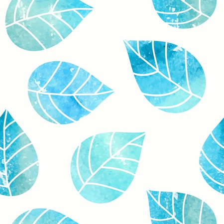 watercolor blue: Seamless leaves pattern  Watercolor background