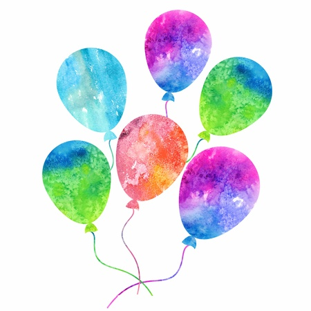 Colorful inflatable balloons  Birthday card decoration