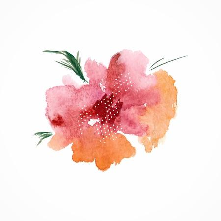 gently: Red flower  Watercolor floral illustration  Floral decorative element  Vector floral background