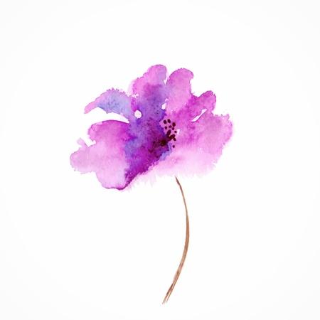 라일락 꽃 수채화 꽃 그림 꽃 장식 요소 벡터 꽃 배경