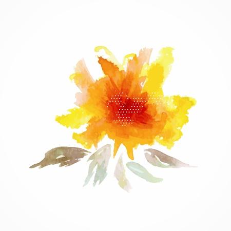 노란색 꽃 수채화 꽃 그림 꽃 장식 요소 벡터 꽃 배경