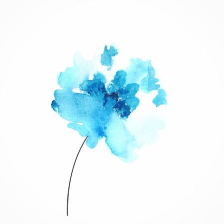 푸른 꽃의 수채화 꽃 그림 꽃 장식 요소 벡터 꽃 배경