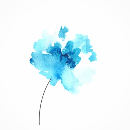 flower drawings: Blue flower  Watercolor floral illustration  Floral decorative element  Vector floral background