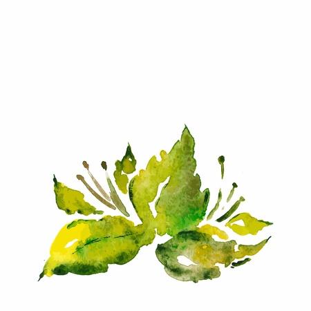 Green leaves Summer floral illustration Eco concept design Vektorové ilustrace