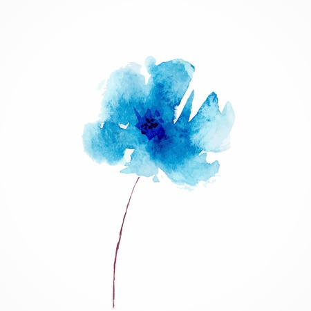 Blue flower  Watercolor floral illustration  Floral decorative element  Vector floral background Фото со стока - 21580696