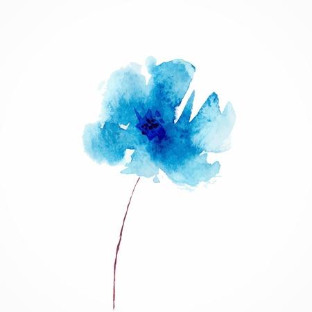 silhouette fleur: Fleur bleue aquarelle floral illustration Floral élément décoratif Vector floral background