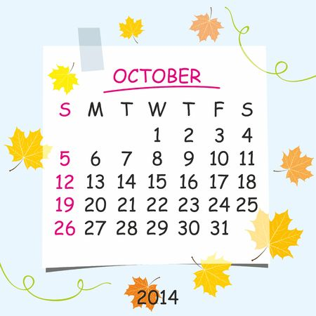 2014 calendar design  October  Vector