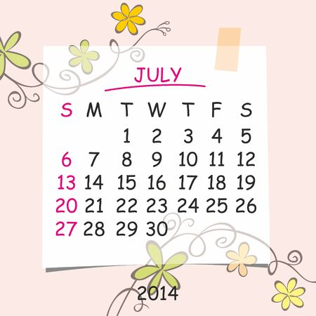 2014 calendar design  July Stock Vector - 22699666