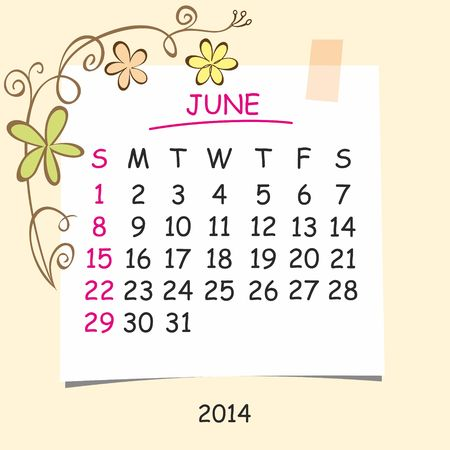 detachable: 2014 calendar design  June