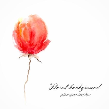 Red Aquarelle florale Décoration florale bouquet floral carte d'anniversaire fleur Banque d'images - 22699718