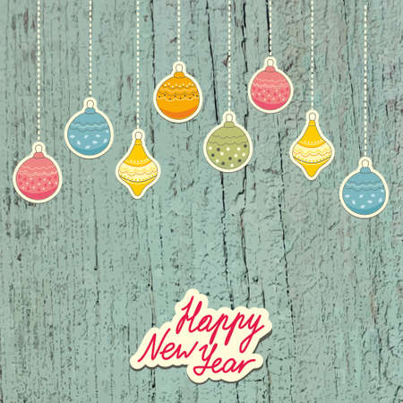 New Year Postcard with hanging decorations  Vector