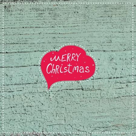 Christmas postcard  Christmas decoration on a wooden board  Vector