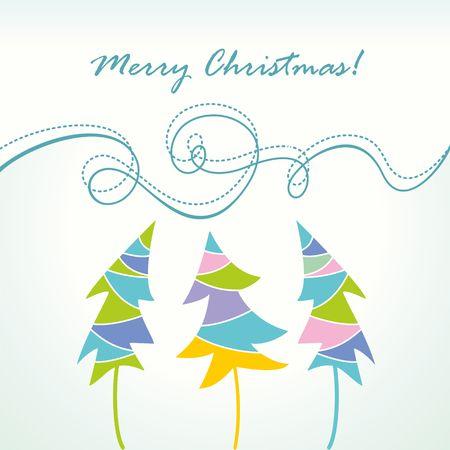Christmas trees  Festive card  Illustration