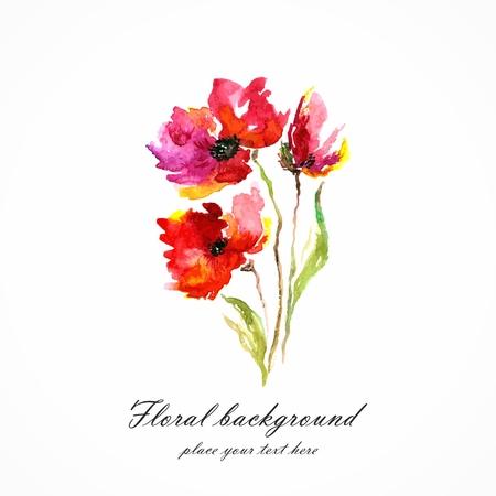 Red flower  Poppy  Watercolor floral decoration  Floral bouquet  floral Birthday card  Ilustração