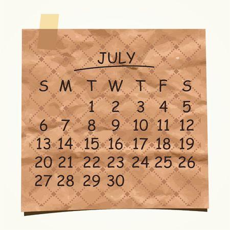 detachable: 2014 calendar design  July  Illustration