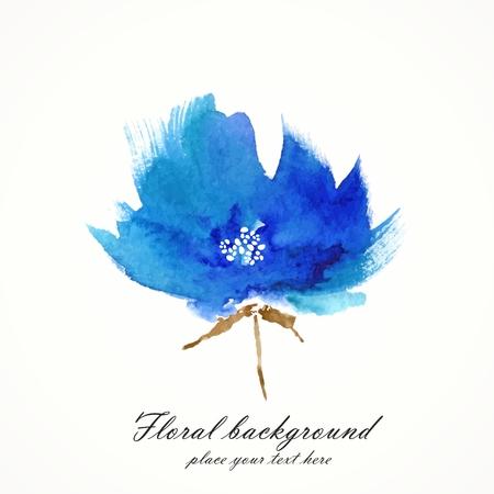 gently: Blue flower  Watercolor floral illustration  Floral decorative element  floral