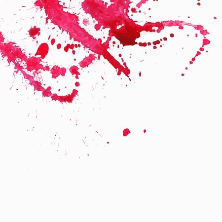 Watercolor splash background  Red paint drops texture