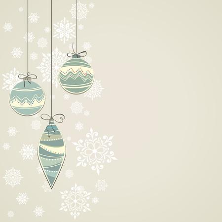 Carte postale de nouvelle année de Noël de fond avec des boules décorations de Noël Banque d'images - 22810992