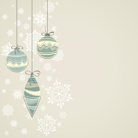 New year postcard  Christmas background with balls  Christmas decorations