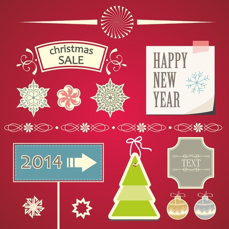 christmas ornaments and decorative elements christmas decorations and labels stock vector 22810995 - Decorative Christmas Labels