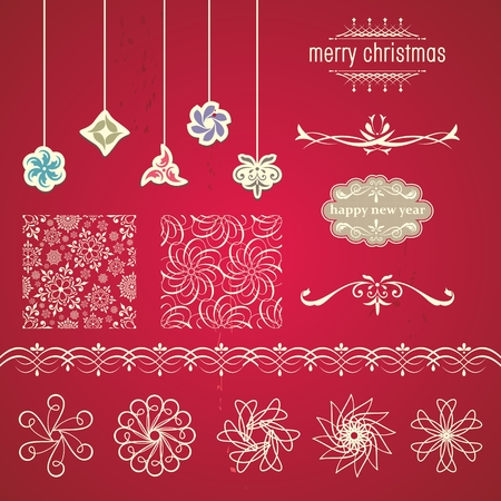 Christmas Ornaments and Decorative Elements  Christmas decorations and labels  Vector