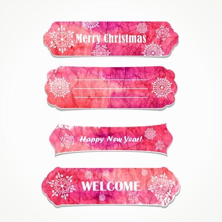 christmas watercolor: Christmas vintage banners  Website design elements  Invitation decorative elements  Illustration