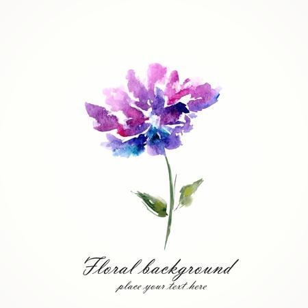 arte abstracto: Lila flor de la acuarela floral ilustración vectorial floral elemento floral fondo decorativo