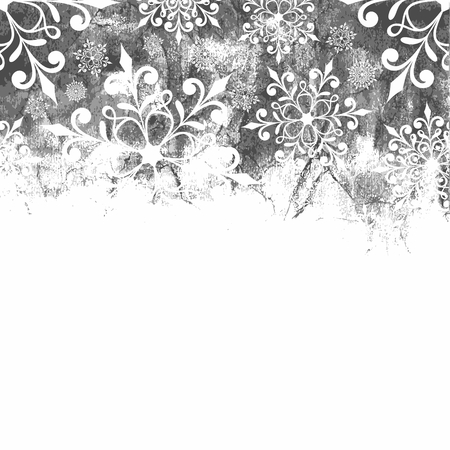winter party: Christmas background with snowflakes  Monochrome christmas background  Illustration