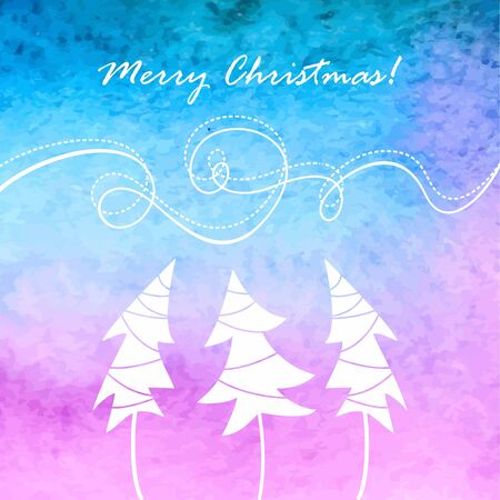 Christmas background with trees  Watercolor background  Illustration