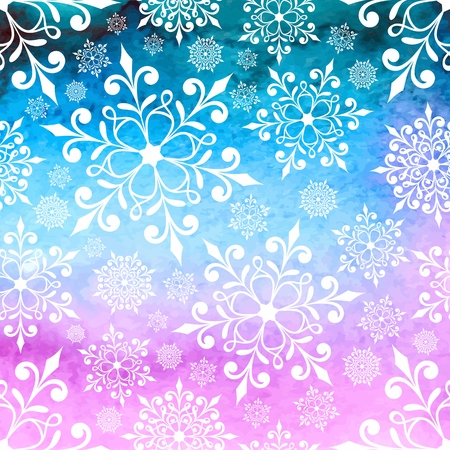 Christmas background with snowflakes  New Year card  Watercolor winter background