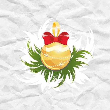 crumpled paper ball: Golden Christmas ball  Christmas decoration on crumpled paper  Illustration