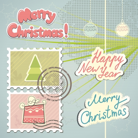 Christmas stamps and decorations Vector